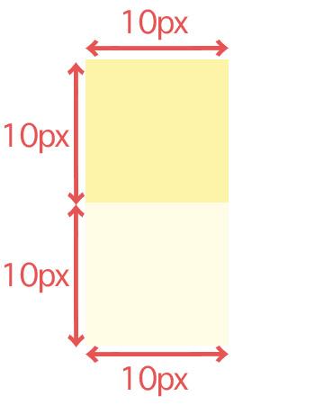 1辺10pxの正方形を縦に2つ並べた画像