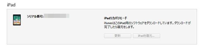 iPadソフトウェアをダウンロードの画面