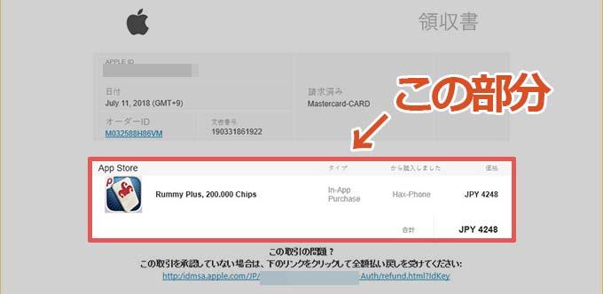 件名「Your Receipt from Apple」のフィッシングメールの購入内容