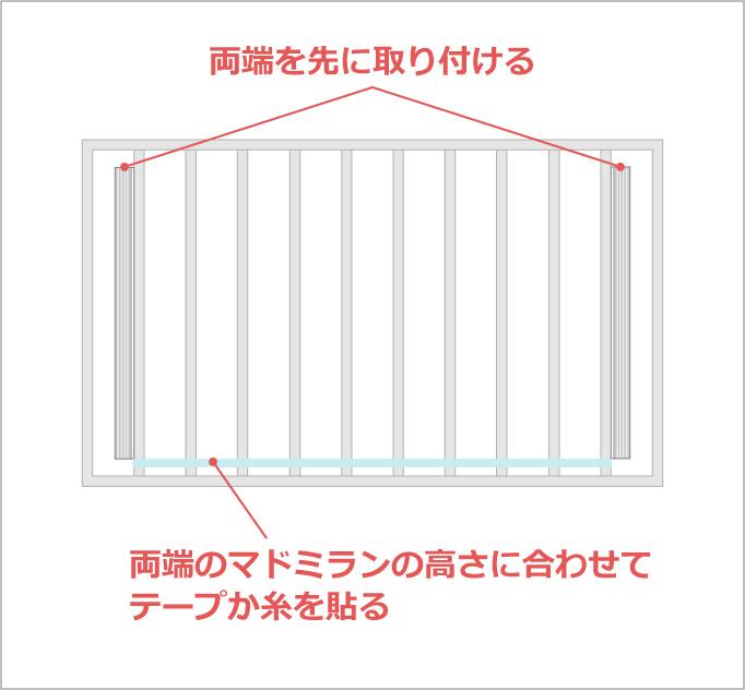 横の水平をとる張り付け方法例