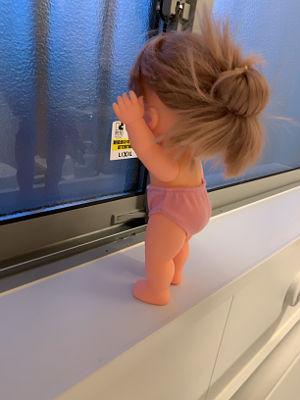 浴室内部から人形を窓のそばに置いた写真