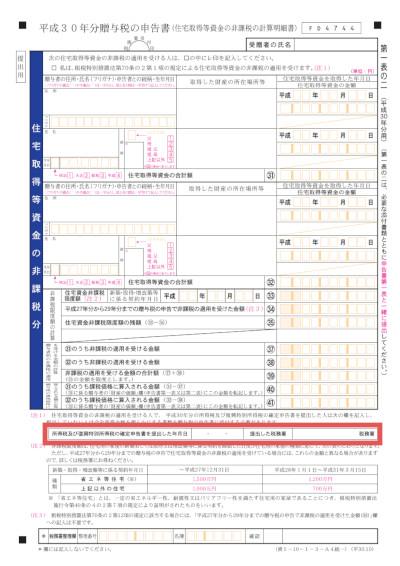 「贈与税の申告書第一表の二」の記載場所イメージ