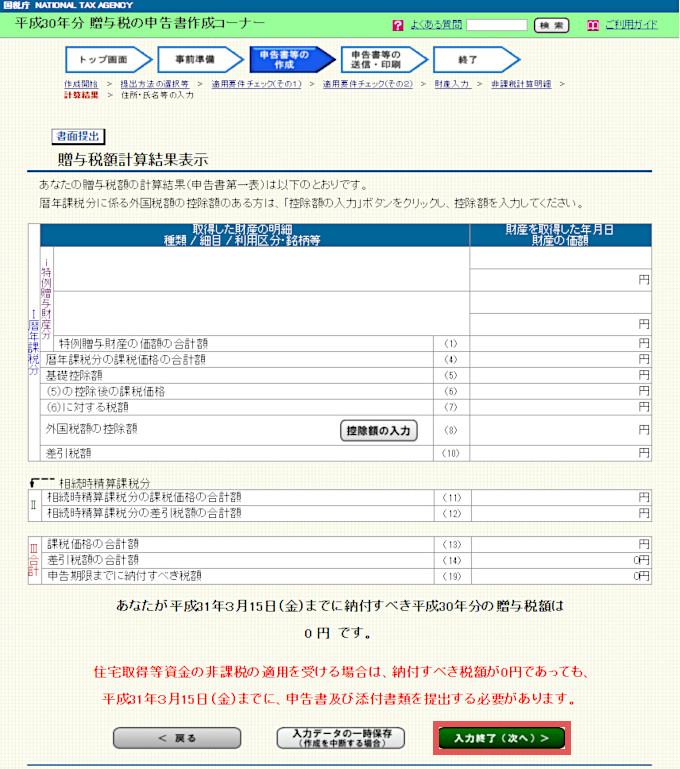 「贈与税額計算結果表示」の確認画面。確認して「次へ」を選択