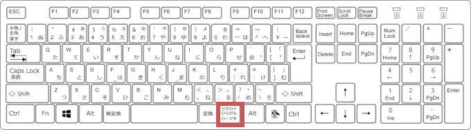 「カタカナひらがな/ローマ字」を押すキーボードのイメージ