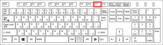 キーボードの「F11キー」の位置