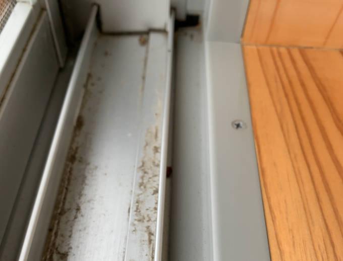 窓枠内の汚れ