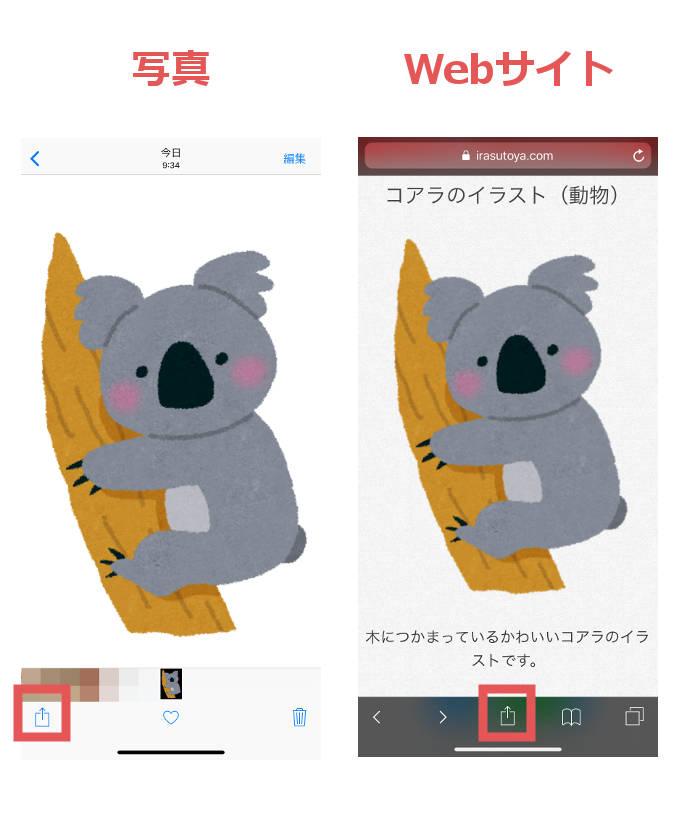 写真・Webサイトの場合のメニューの位置