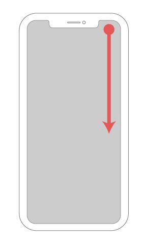 iPhoneで明るさ調整メニューを出すためのフリック操作の位置