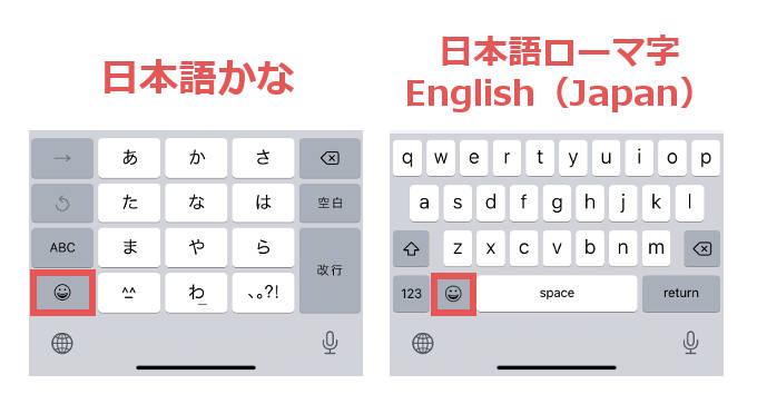 「日本語かな」「日本語ローマ字」「English(Japan)」のキーボードの絵文字キーの位置