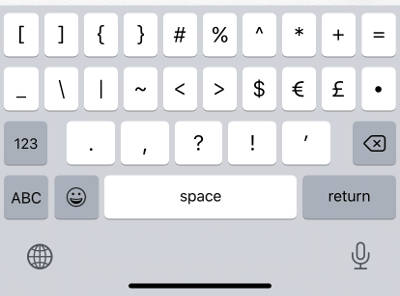 English(Japan)の数字入力から記号入力に切り替えたキーボード